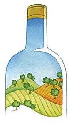 Bottiglia e paesaggio, illustrazione di Angelo Ruta